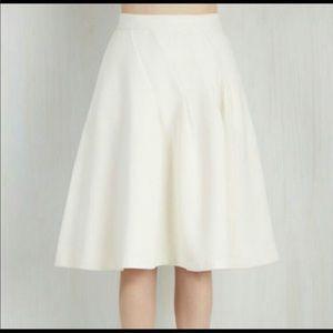 Modcloth white pleated A-line skirt